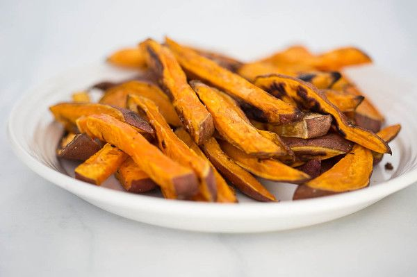 mandolin sliced sweet potato fries made with a mandolin slicer