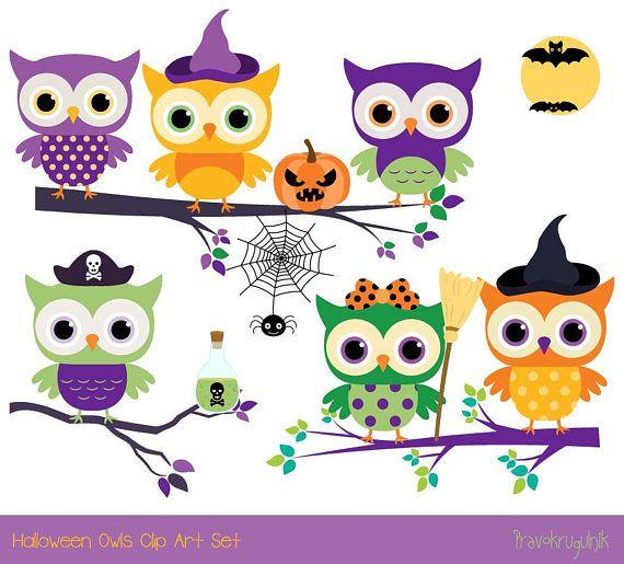 Cute Halloween Owls Clip Art Halloween Clipart Digital Etsy Owl Clip Art Halloween Clipart Cute Halloween