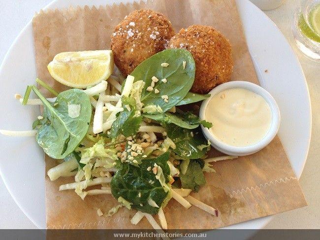 fish cakes & salad at Diggies Woolongong