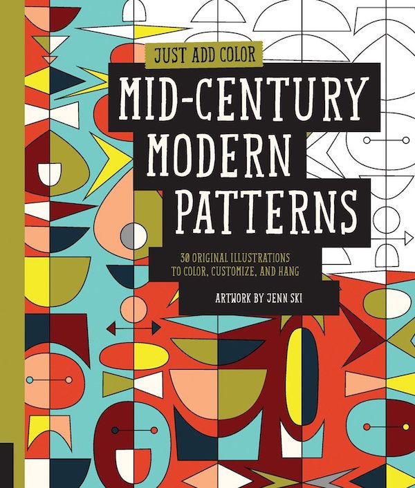 Mid-Century Modern Patterns coloring bok for adults by Jenn Ski