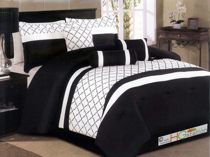 7-Pc Casablanca Riad Trellis Microfiber Moroccan Comforter Set Black White Queen #HGstation