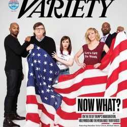 "On Tuesday, Variety released its new cover: a picture of Hamilton's Brandon Victor Dixon (yes, the guy who lectured Mike Pence while Pence was enjoying a night out with the wife), HBO's Lena Dunham, Michael Moore, Chelsea Handler, and CNN's Van Jones. They're all holding a large American flag and looking upset and somber. Dunham wears a shirt that says, ""Women Are Powerful And Dangerous"" as she seems to hide behind the aging Moore; Handler wears a shirt reading ""Let's Get To Work.""