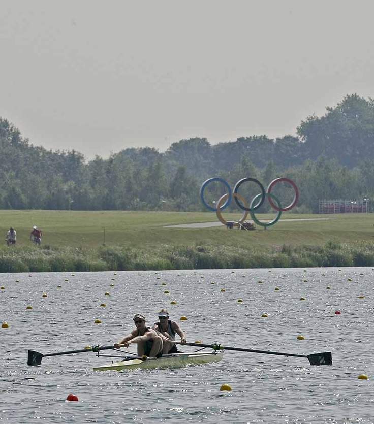 Hamish Bond (s) and Eric Murray (b) of New Zealand row in the men's pair during training at the 2012 Olympic Games at Eton-Dorney near London, Great Britain.   ©FISA #m2-