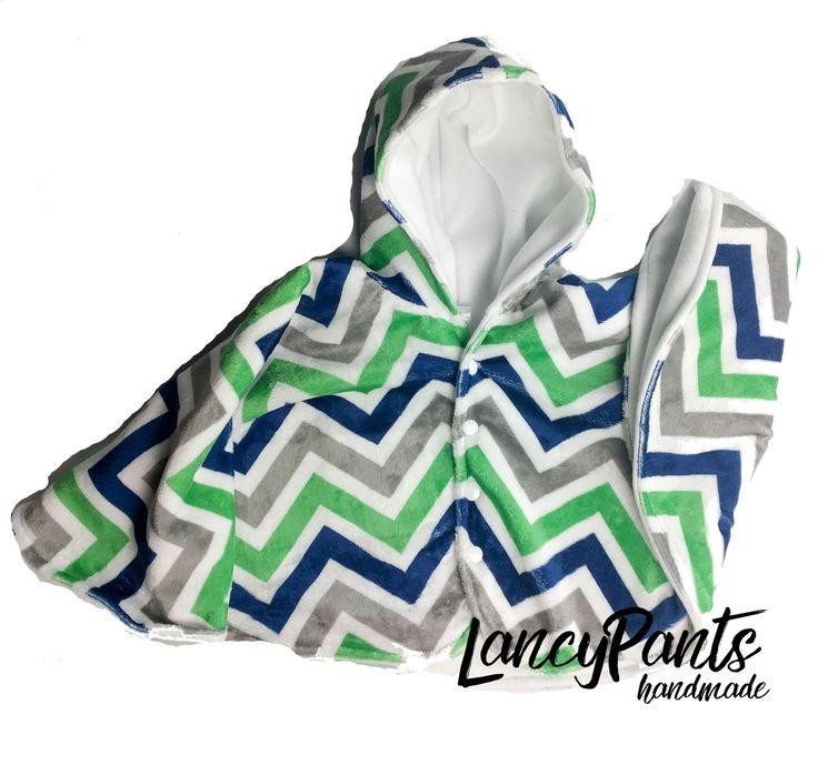 Made to order blue green chevron cuddle minky fleece car seat poncho - winter kids children's poncho -infant poncho - toddler poncho