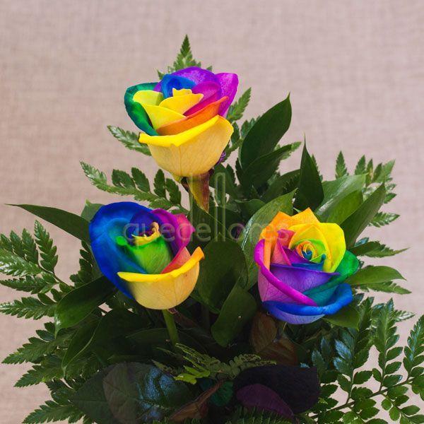 Ramo de Rosas Rainbow. Escoge estas originales rosas que forman un arco iris con los colores de sus pétalos. #rainbow #rose #arcoiris #rosas #multicolor #pétalos