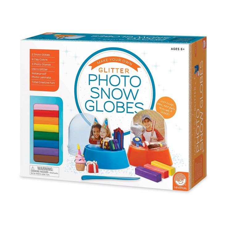 MindWare Make Your Own Glitter Photo Snow Globes Set, Multicolor