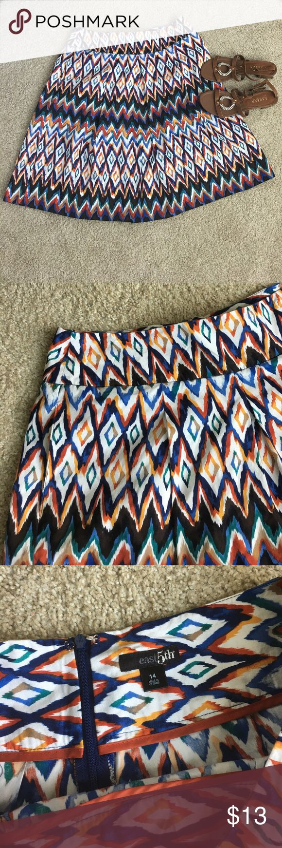 Like new Tribal print skirt Adorable skirt in like new condition. Has 2 pockets at the sides. Great for summer ! Size 14 Skirts A-Line or Full