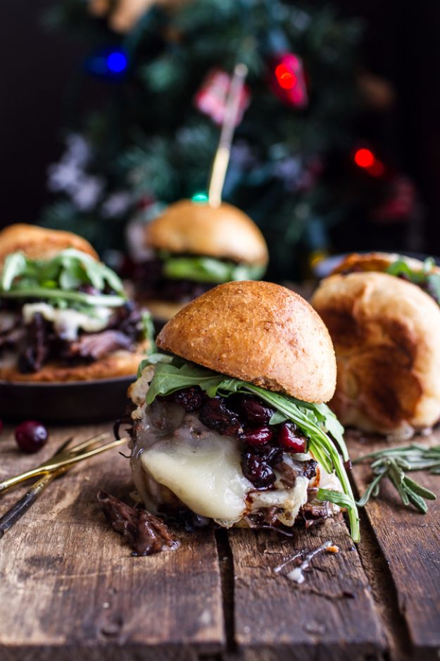 Best Fourth of July Food and Drink Ideas - Gingery Steak And Brie Sliders With Balsamic Cranberry Sauce - BBQ on the 4th with these Desserts, Recipes and Ideas for Healthy Appetizers, Party Trays, Easy Meals for a Crowd and Fun Drink Ideas http://diyjoy.com/diy-fourth-of-july-party-ideas