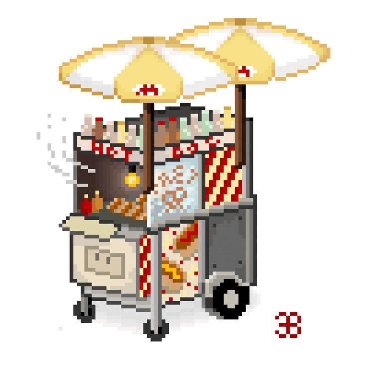 Hot dog cart pixelart gif by Kitt Byrne  #pixelart #pixel #art #gif #animated #animation #hotdog #cart #hot #dog #cute #game #games #2d #asset #illustration