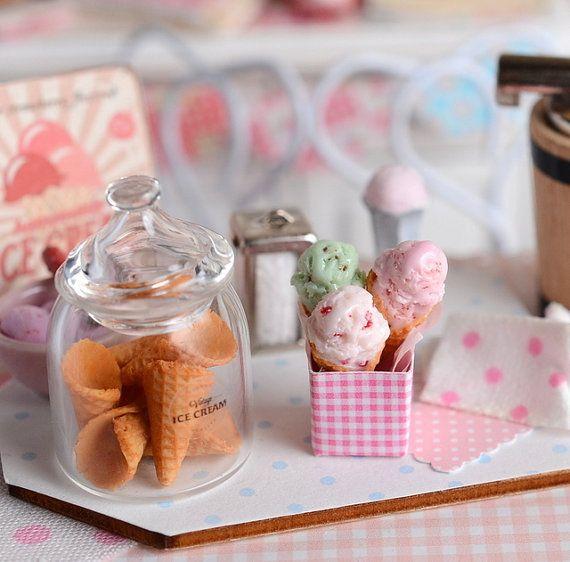 Miniature Ice Cream Cone Set by CuteinMiniature on Etsy