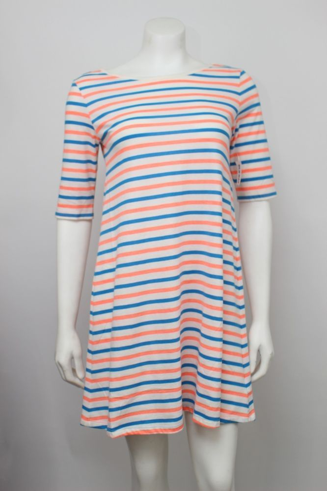 Nwt Old Navy Neon Orange Amp Blue Striped Short Sleeve T