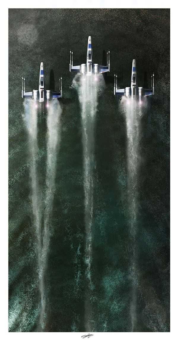 X-Wing Fighters skim the surface of a lake in 'Star Wars VII: The Force Awakens.'