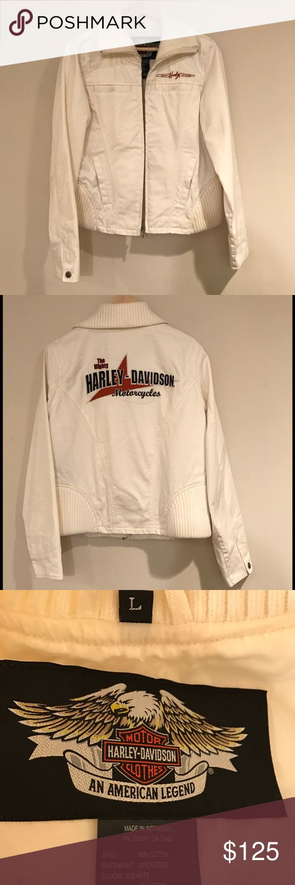 Harley-Davidson Jacket Excellent condition! Cream colored jacket with large Harley emblem on the back. Purchased at Harley-Davidson store. It has just been sitting in storage. Needs to be worn out! Has a few washable marks on it from being it storage (see sleeve photo)other than that it's in mint condition! Has a matching scarf sold separately. Buy both and save 5% NO TRADES PLEASE. Harley-Davidson Jackets & Coats