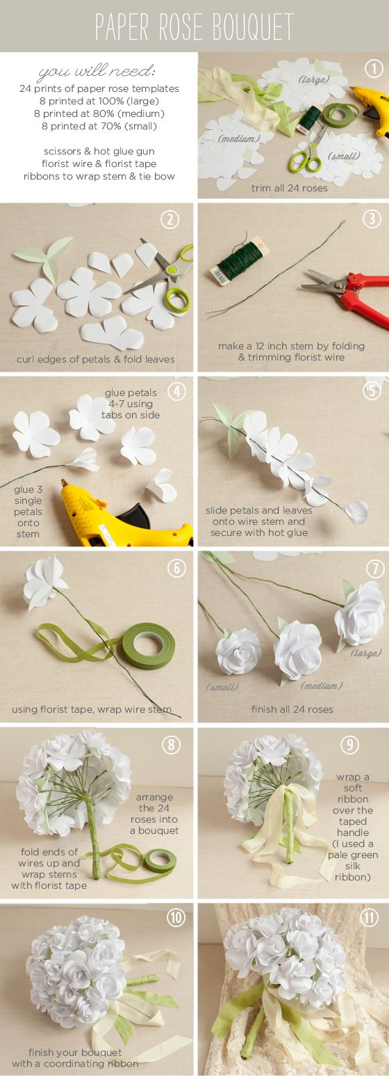 How to make a paper rose bouquet