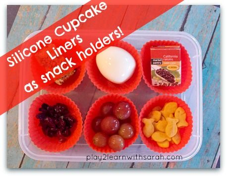 Silicone Cupcake Liners as Snack Holders http://play2learnwithsarah.com/silicone-cupcake-liners-as-snack-holders/