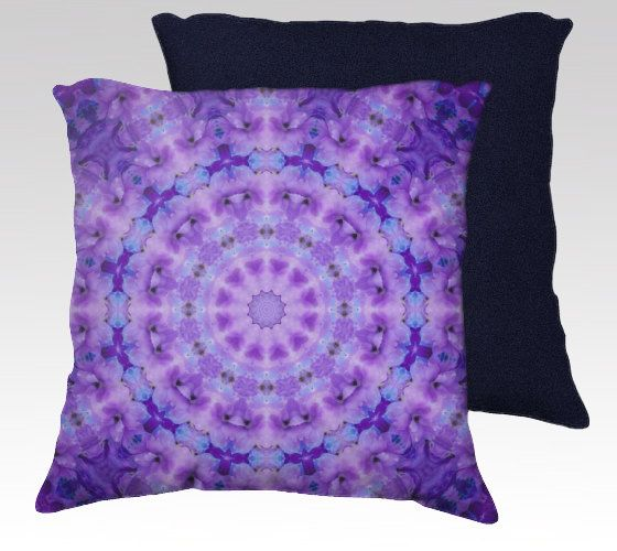 "Lavender Purple Pillow Cover, Decorative Throw Pillow Case, 18x18"", Mandala, Kaleidoscope, Flower Photo, Circle, Psychedelic, Home Decor"
