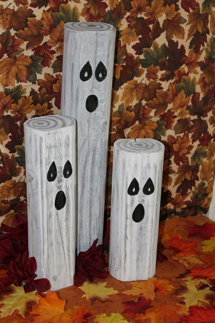primitive wooden halloween ghosts decoration by theenchantedcircle - Halloween Decoration Pictures