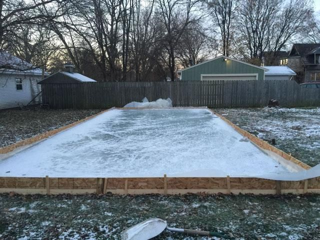 perfect opportunity to create his own backyard ice rink.  While it's not one of the easiest DIY projects, Wade was able to complete his ice rink in only eight hours over the course of two weeks and spent less than $150. Wade told us it was his first time building a backyard rink, but says this won't be his last — he plans on making it 40x40 next year.