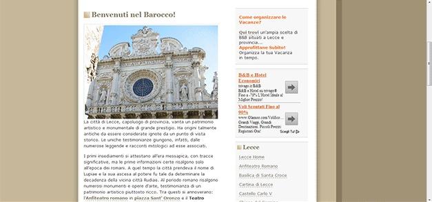 Redazione di alcuni testi ed articoli per www.leccenelsalento.it