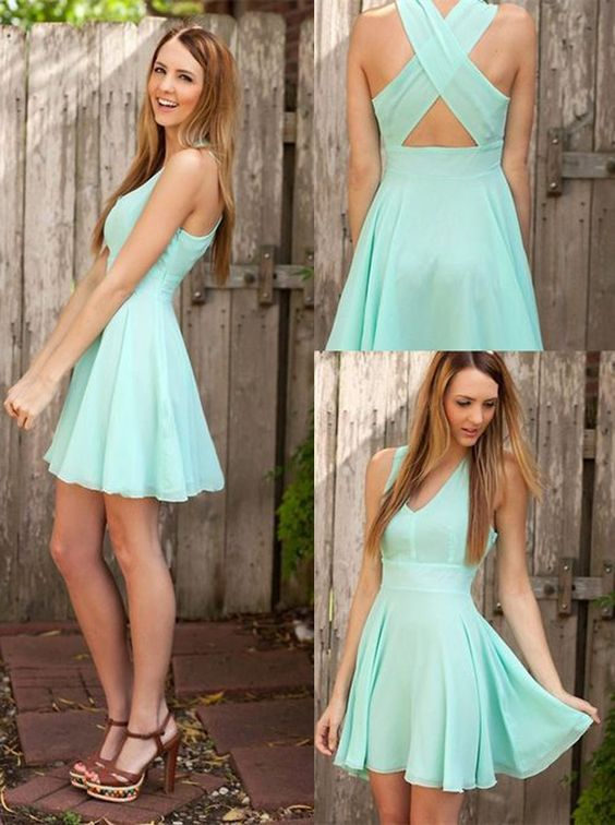 A-line V-neck Short Mint Criss-Cross Straps Chiffon Homecoming Dress With…