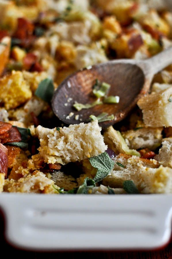 Double Bread Stuffing with Brown Butter, Bacon & Sage I howsweeteats.com