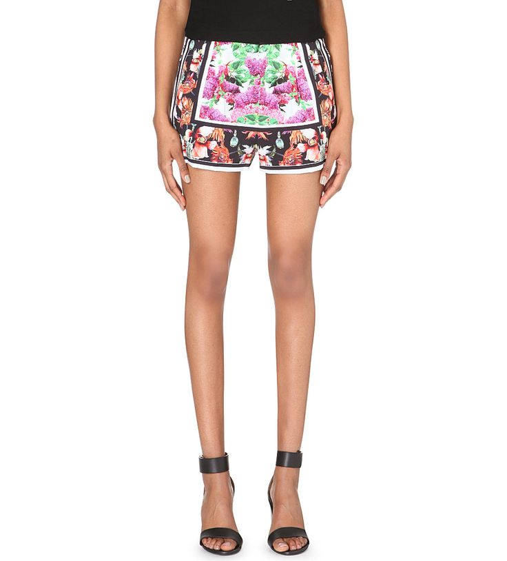 clover canyon floral print stretch crepe shorts