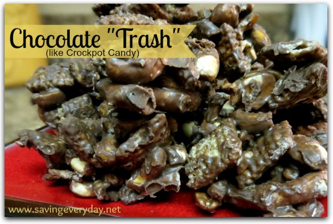 """If you're looking for a quick and easy recipe for parties, bake sales, or just to munch on at home, this one is for you! I was given this recipe years ago and it's one that I get asked to make time and time again. My daughter was in Girl Scouts for years and our bags of """"trash"""" always sold out at bake sales. We would get tickled when people would buy one bag, walk away eating it, and then come bag and buy more! It's addictive!  It's like crock pot candy but quicker and easier!"""