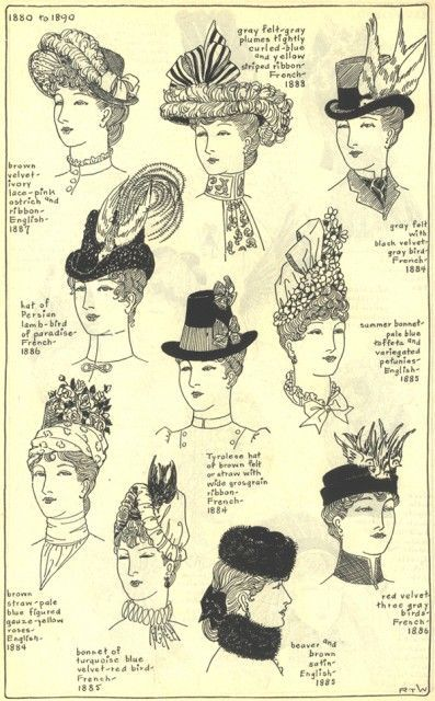 Victorian Hats (1880-90)  http://gallery.villagehatshop.com/gallery/