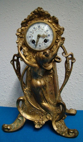 BEAUTIFUL ART NOUVEAU SHELF CLOCK, SPAULDING & CO. CHICAGO,MADE IN FRANCE