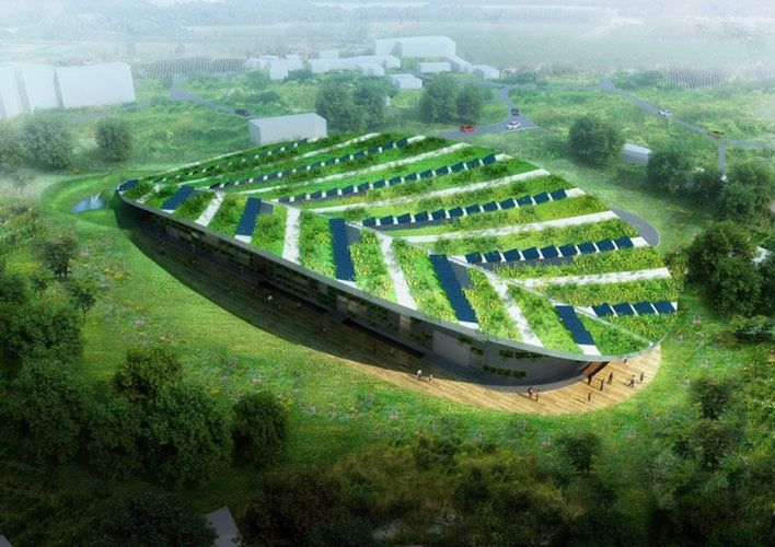 SUSTAINABLE ARCHITECTURE IN THE SHAPE OF A LEAF: Henderson Centre: Photosynthesis performed by a building.