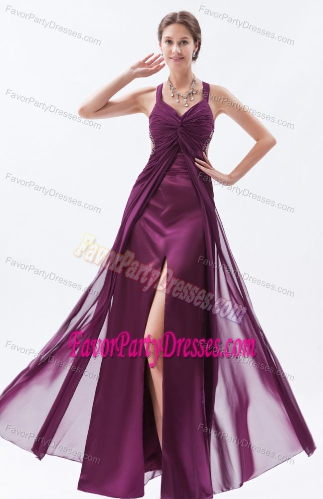 Column Chiffon Beaded Floor-length Dark Purple Prom Party Dress with Straps