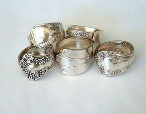 """Spoon ring tutorial----How to...spoon ring. When you do go buy your silverware, make sure it is sterling silver and not stainless steel (it will say on the back of the spoon). You'll know it's sterling silver if it says """"900"""" or """"925"""" on the back."""