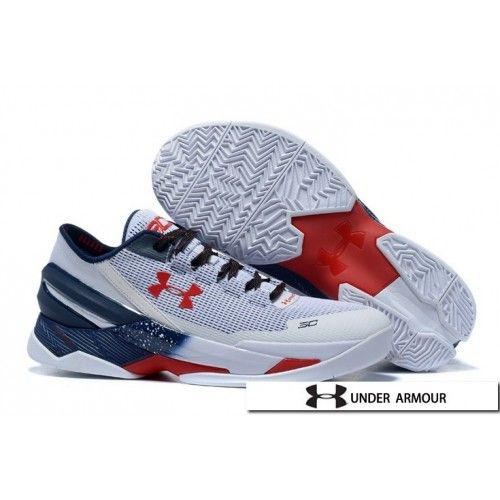 UA Curry 2 Low Shoes - Under Armour UA Curry 2 Low Grey White Blue Red