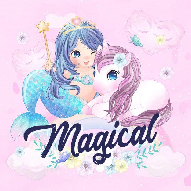 Cute Unicorn And Mermaid Unicorns And Mermaids Mermaid Wallpapers Unicorn Wallpaper Cute