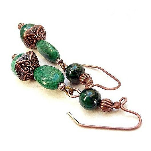 Boho chic. Real malachite earrings, hand made by me // Boho chic. Kolczyki z prawdziwego malachitu
