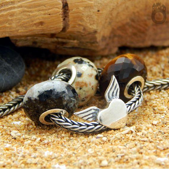 Orbicular Jasper gemstone bead fits charm bracelets big core