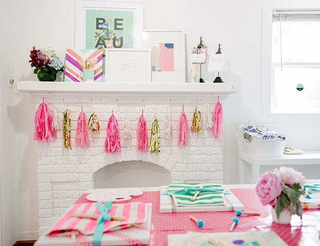 Kids Painting Birthday Party // pink, gold, and turquoise + Studio Mucci tassels + May Designs