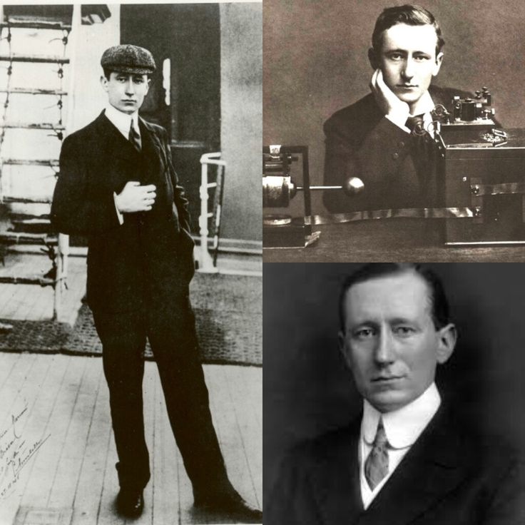 "GUGLIELMO MARCONI GuglieImo Marconi (born 1874 in Bologna, Italy) became fascinated with the discovery by German Physicist Heinrich Rudolf Hertz of ""invisible waves"" generated by electromagnetic interactions. Marconi built his own wave-generating equipment at his family estate and thus sent and recieved his first radio signal in 1895. Marconi moved to England and worked with the British Post Office. Two years later, he set up a wireless station on the Isle of Wight that allowed ..."