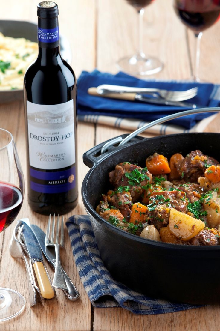 Country style beef potjie and merlot.