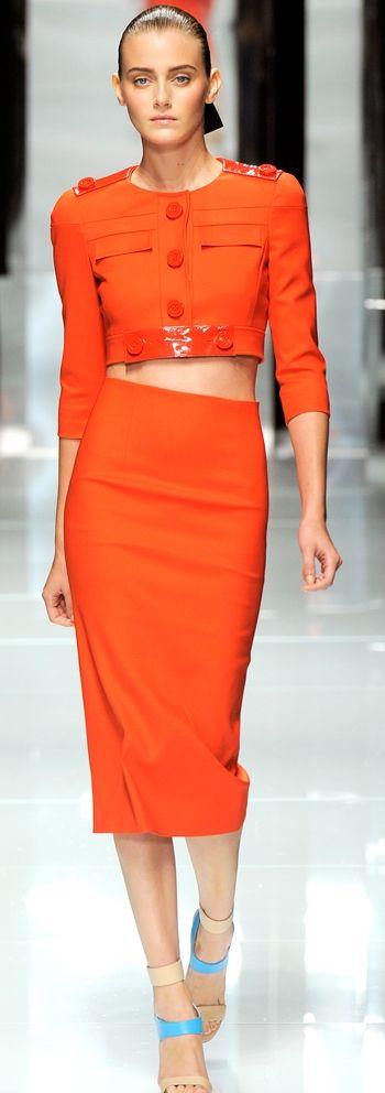 Versace tangerine orange two piece crop jacket and midi pencil skirt