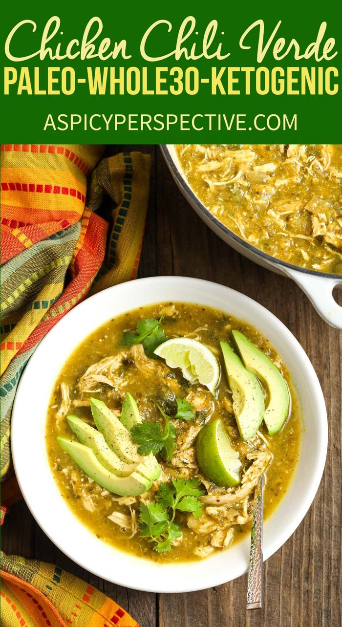 Paleo Chicken Chile Verde Recipe - A lean low carb green chili that fits neatly ...
