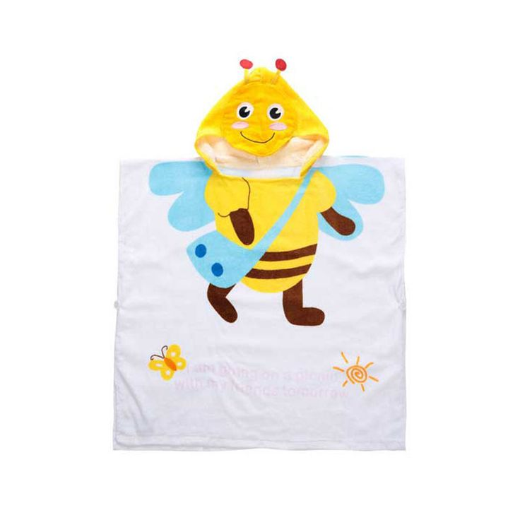 New Arrivals Cartoon Children's Swimming Towels Bathrobe Bee Hooded Poncho Ultra Absorbent Quick-Dry 100% Cotton Baby Bath Towel