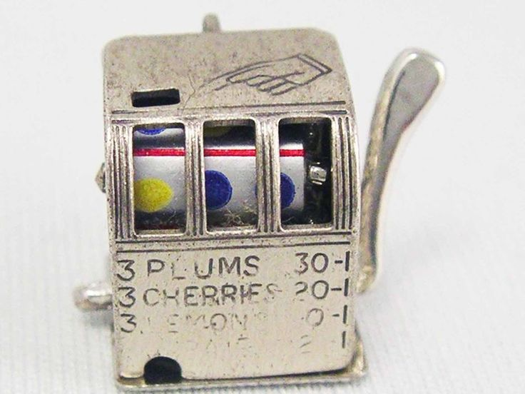 Vintage Sterling Silver 925 BEAU Working Slot Machine Vegas Charm 3.8 grams #Beau