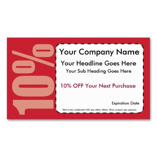 10% Off Coupon Business Cards. Make Your Own Business Card With This Great  Design  Discount Coupons Templates