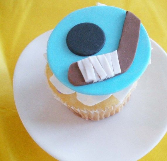 Hockey Fondant Cupcake Toppers for Boy Birthdays by TwoSugarBabies, $18.00