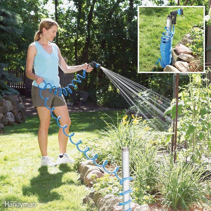 Use galvanized pipe to corral your hose If you have a small yard, don't waste any precious real estate on a bulky hose reel. Pound a 4-ft. length of galvanized steel pipe ($7 at home centers) into the ground, coil up to 50 ft. of hose around it and top the end with a nozzle that hooks into the pipe's end.Use hook and loop tape to hold the bottle Attach the bottle of herbicide to your lawn tractor or mower with a hook-and-loop strip (like Velcro) in a spot where you can easily grab it.