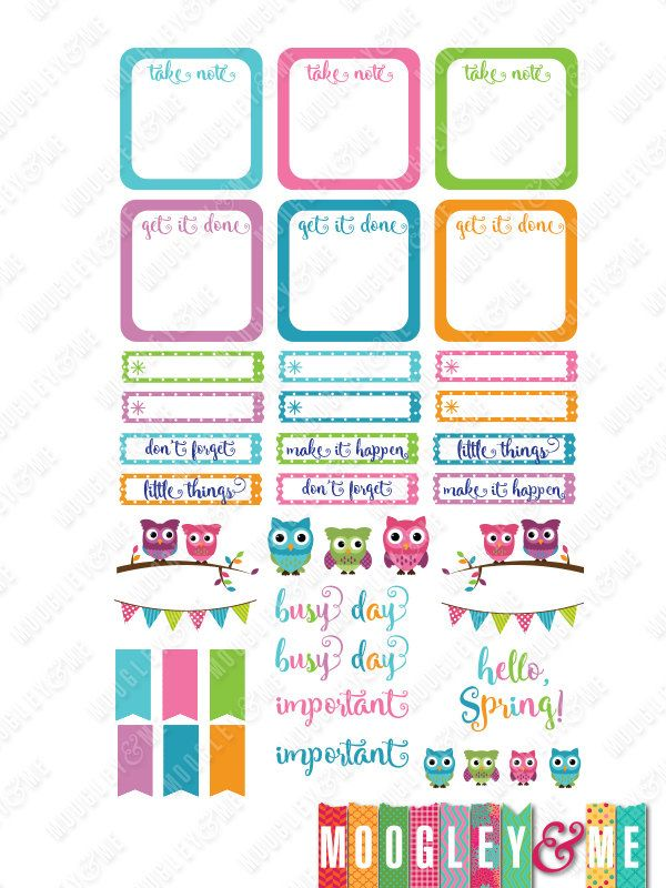 Spring Owls Planner Stickers for your Horizontal or Vertical Erin Condren Life Planner, Happy Planner, or any planner! by MoogleyandMe on Etsy