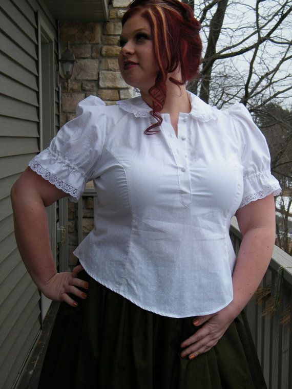 Plus Size Blouse Lolita Victorian Style White Cotton -Custom to your Size 2X and Above