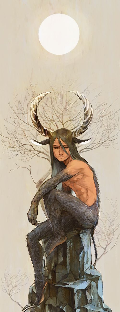 角の男, 月に佇む (fantasy art, male demon, satyr, with horns, claws)
