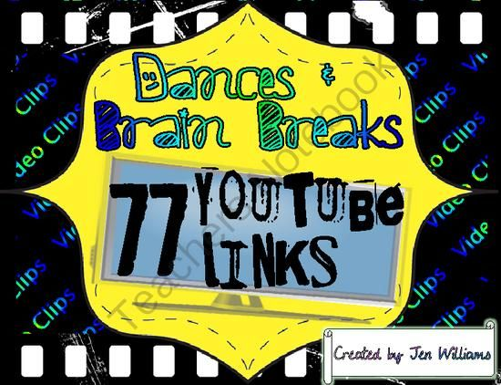 TEACHERS NOTEBOOK 50% BUILD A BUNDLE SALE (through Aug. 18) 77 Dances  Brain Breaks - YouTube Video Links for Video Clips and Songs for Classroom Physical Activity (HOW TO FIND THIS ITEM ON SALE: go to the Build a Bundle Sale from the main page, click 4th grade, classroom management, and this item is on the 4th page)